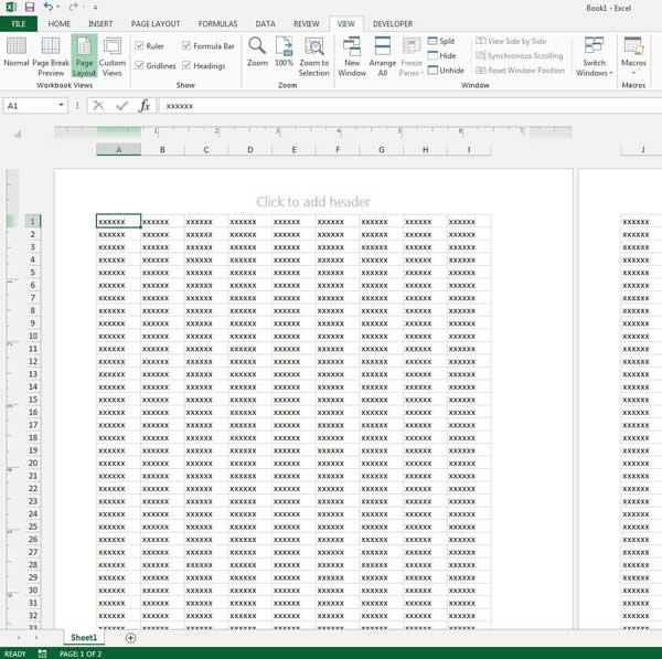 посмотреть макет печати в Excel 2013