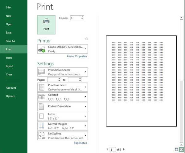 превью печати Excel 2013