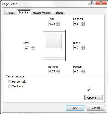 вкладка поля меню настройки страницы Excel 2010