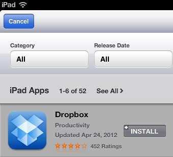скачать Dropbox добавить на свой Ipad