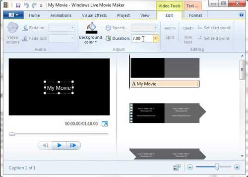 Как сократить продолжительность титульного экрана в Windows Live Movie Maker