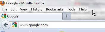 Firefox с отображаемой строкой меню