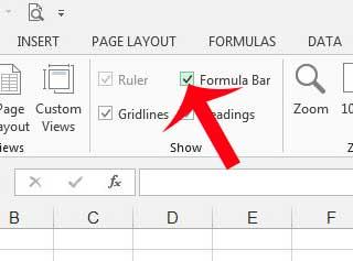 установите флажок слева от строки формул