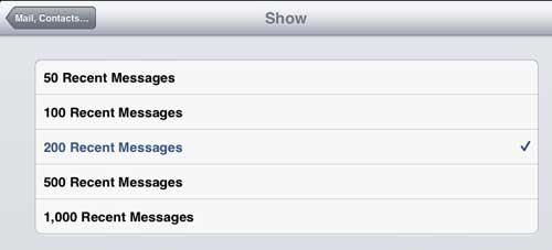 Выберите количество сообщений для отображения в папке «Входящие»