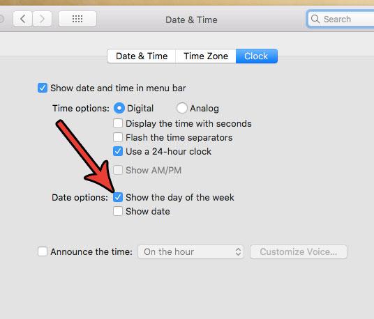 как включить день недели в строке состояния Mac