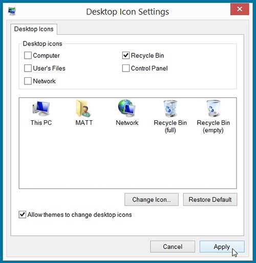 как показать корзину на рабочем столе в Windows 8