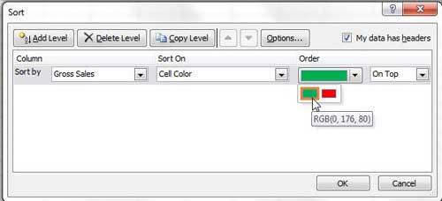как сортировать по цвету ячейки в Excel 2010