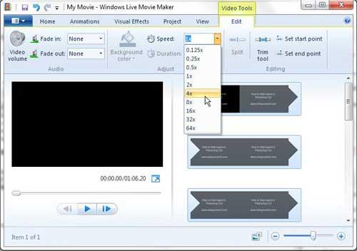 Как ускорить видео Windows Live Movie Maker