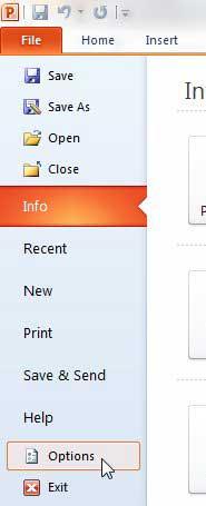 меню параметров PowerPoint