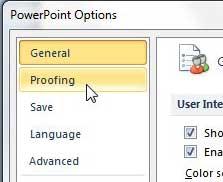 вкладка проверки правописания в меню параметров PowerPoint