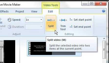 Как разделить клип в Windows Live Movie Maker