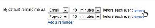 изменить напоминания календаря Google