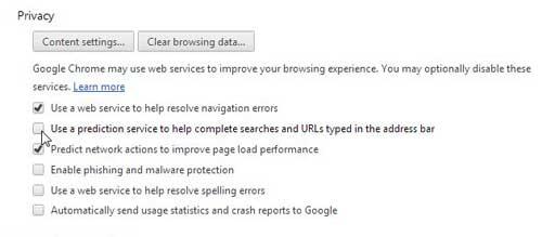 как остановить Google Chrome предсказания