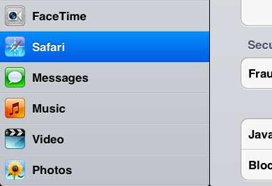 откройте меню ipad 2 safari
