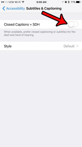 отключить субтитры и субтитры через настройки iphone