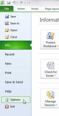 Меню параметров Excel 2010