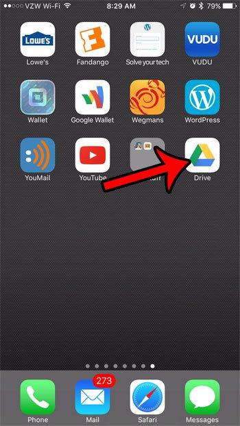 откройте приложение Google Drive