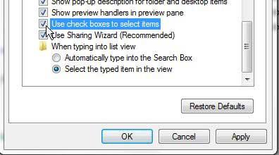 как использовать флажки для выбора файлов в Windows 7