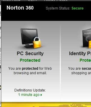 раздел безопасности norton 360 pc