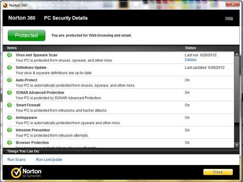 как просмотреть детали защиты Norton 360
