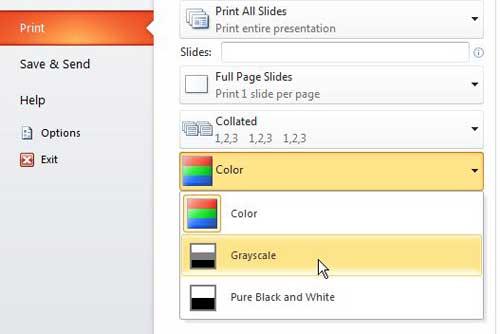 Powerpoint 2010 печать оттенков серого