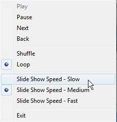 Windows 7 слайд-шоу управления