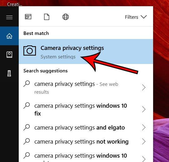 Настройки конфиденциальности камеры Windows 10