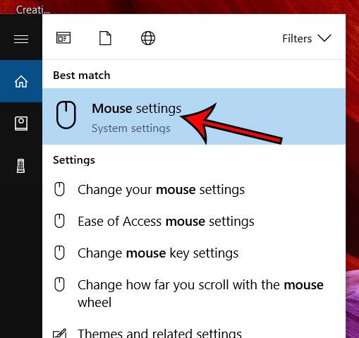 выберите опцию настроек мыши