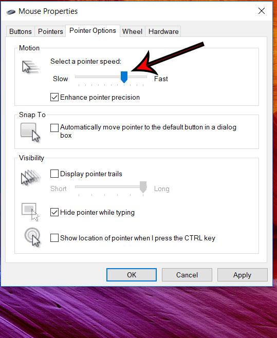 Как изменить скорость указателя мыши в Windows 10