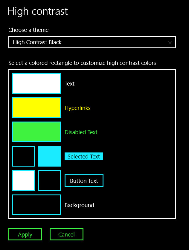 параметры режима высокой контрастности windows 10