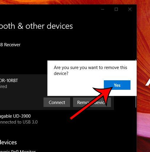 подтвердите, что вы хотите удалить устройство Bluetooth