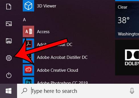 меню настроек windows 10