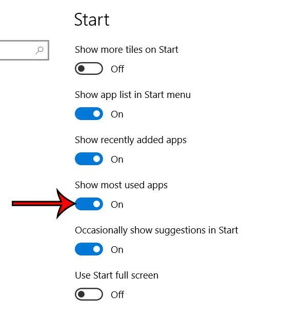 показать наиболее часто используемые приложения Windows 10