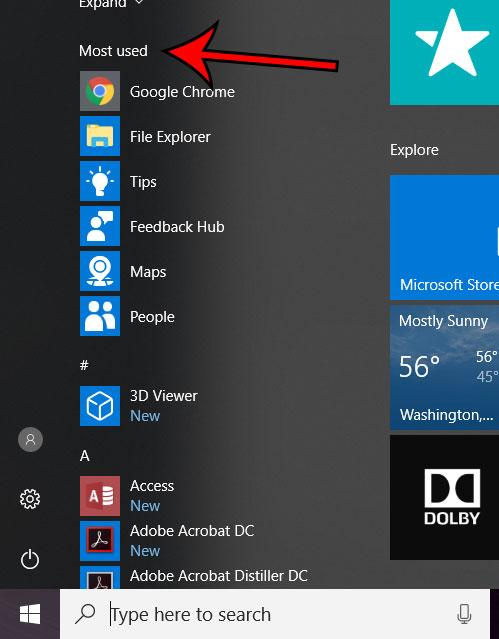 Windows 10 наиболее часто используемых приложений