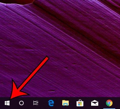 Windows 10 нажмите Пуск меню