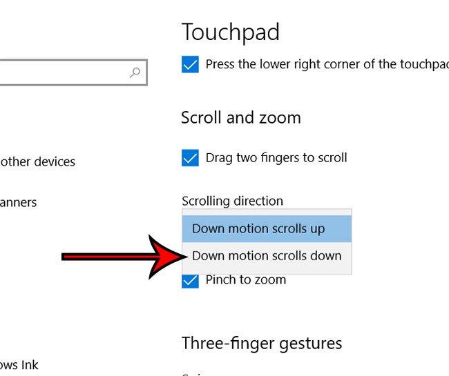 Как изменить направление прокрутки сенсорной панели в Windows 10