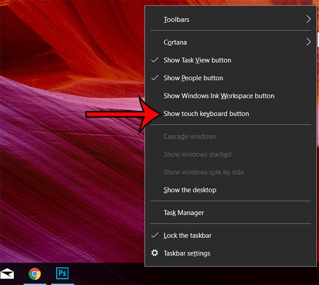 значок клавиатуры с сенсорным экраном Windows 10