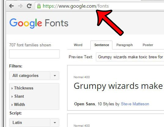 перейти на страницу шрифтов Google
