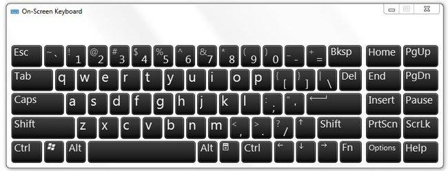 Windows 7 на экранной клавиатуре