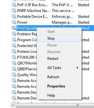 Щелкните правой кнопкой мыши параметр «Диспетчер очереди печати» и выберите «Стоп».