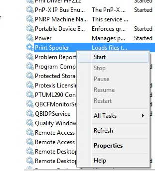 Щелкните правой кнопкой мыши параметр «Диспетчер очереди печати» и выберите «Пуск».