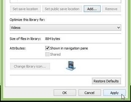 Как добавить папку в библиотеку видео в Windows 8