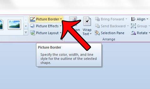 нажмите кнопку границы изображения