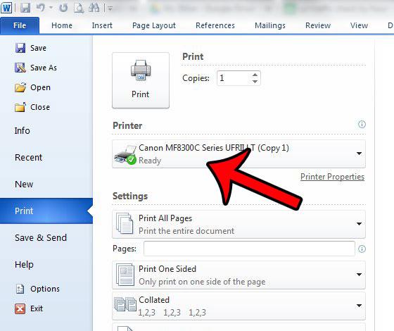 нажмите кнопку принтера