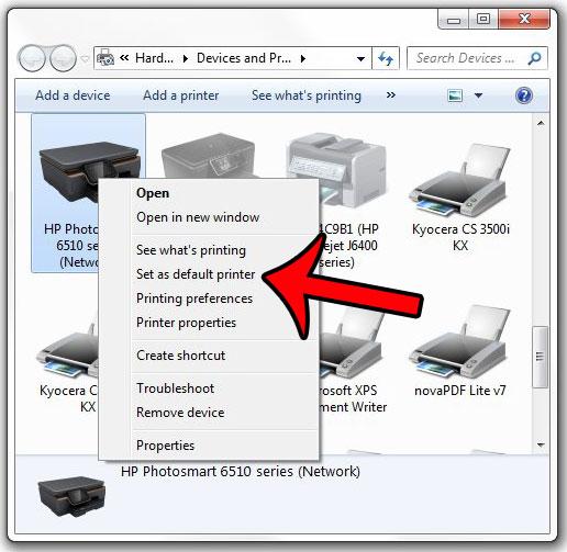 выберите новый принтер по умолчанию
