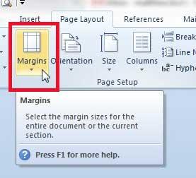 Как установить поля страницы по умолчанию в Word 2010