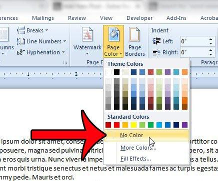 выберите опцию без цвета на странице цвета