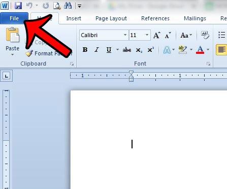 щелкните вкладку файла слова