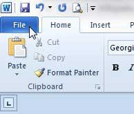 открыть вкладку файла