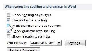 отключить функцию проверки правописания в Word 2010